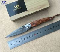 NIGHTHAWK 0132 Folding Knife VG10 Damascus Steel Blade Sandalwood Stainless Steel Processing Camping Fruit Knife EDC