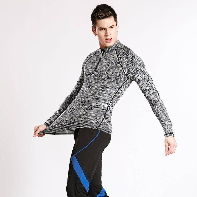 d9de13f64e Zipper T shirt workout fitness men long sleeve t shirt men thermal muscle  bodybuilding wear compression tights exercise clothing-in T-Shirts from  Men's ...