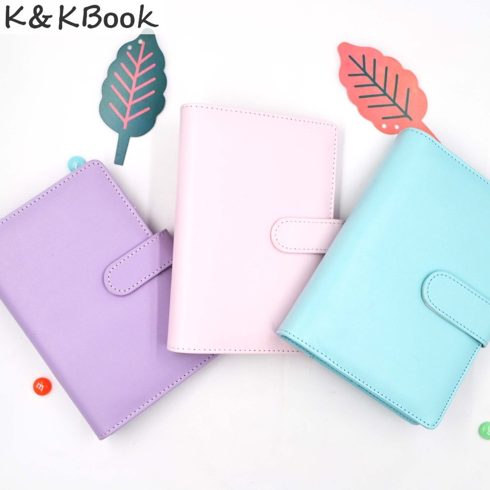 K&KBOOK KK006 Leather Notebook A5 A6 Spiral Notebook Diary Ring Binder Journal Dot Grid Agenda Planner Macaron Planner Organizer excellent good qualitly a5 a6 ring binder planner personal diary notebook gifts
