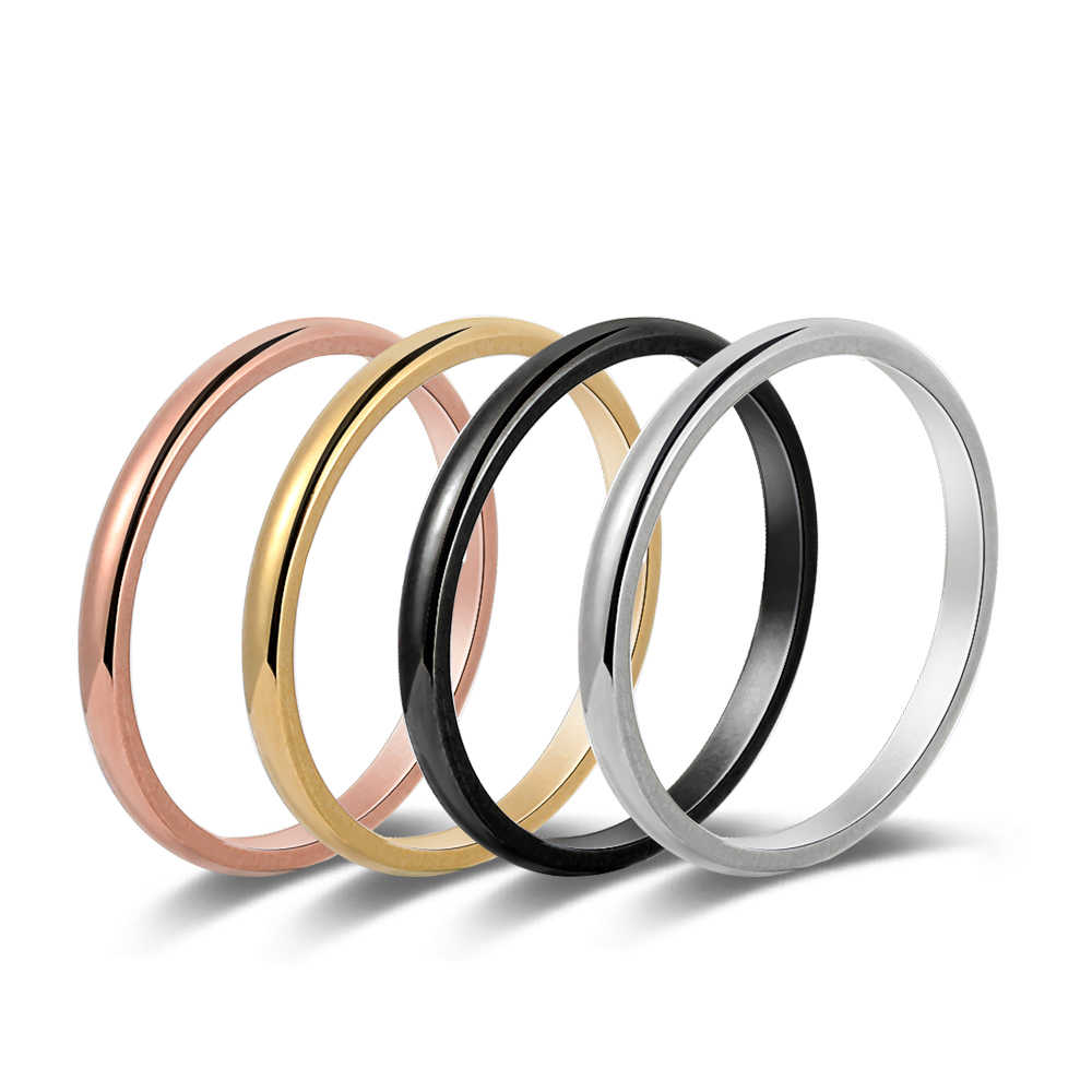 1PC Stainless Steel Thin Ring Rose Gold Stackable Plain Simple Band Wedding Love Finger Rings Jewelry  for Couples