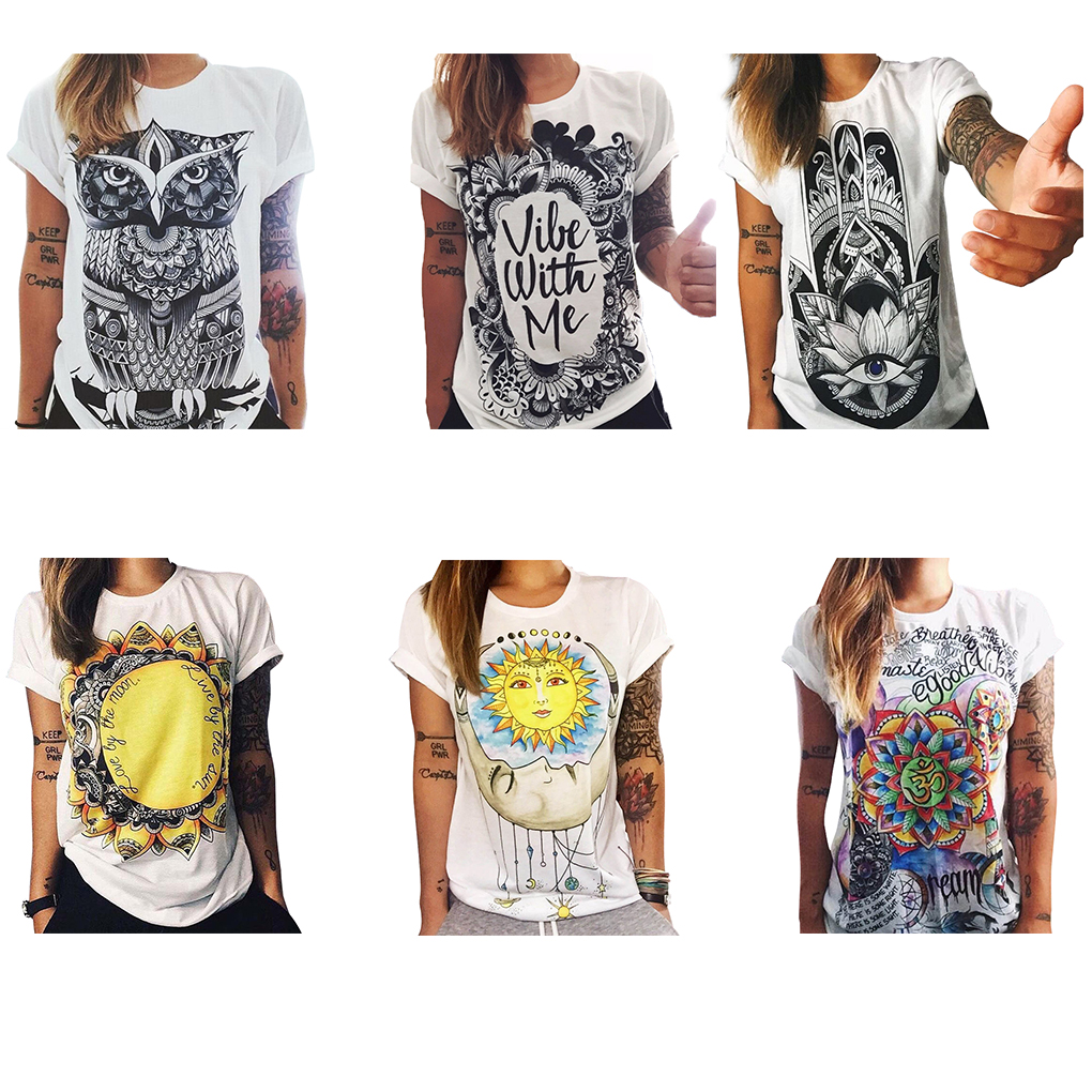 Women Owl/Letters /eye Print   T  -  shirt   Loose Solid Color Round Neck Short-sleeved   T     shirt