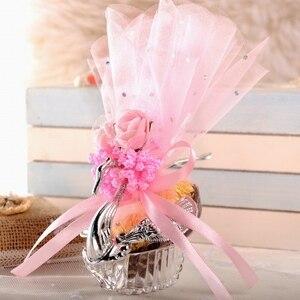 Image 4 - 50 قطعة الأنماط الأوروبية الاكريليك الفضة أنيقة سوان صندوق حلوى الزفاف هدية لصالح صناديق شوكولاتة حفلة + ملحق كامل
