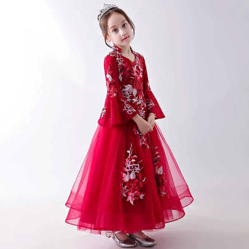 2017 New Kids Girls Wine-Red Flowers Princess Birthday Wedding Dress Children Model Show Long Dress Clothes Pageant Prom Dress girls birthday wedding evening party embroidery flowers lace princess dress children kids model show costume pageant long dress
