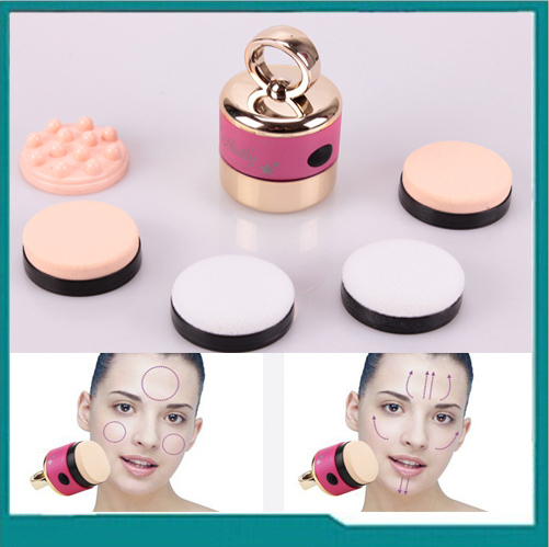 Free shipping! 5 in 1 Electric auto cosmetic makeup foundation power puff vibrating applicator
