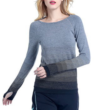 Women Gradient Color Slim Sports Wear Long Sleeve Tee Crew Neck Yoga Tops Shirt Sweat Absorption Gyms Running Quick Dry Fitness