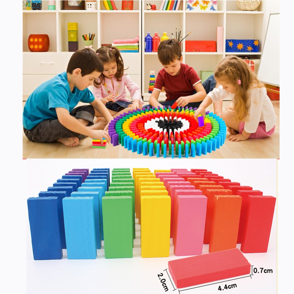 120/240pcs/lot Wooden Bright Coloured Tumbling Dominoes Games Kids Play Toy Early Learning Educational Children Study Toys