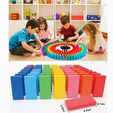 120/240pcs/lot Wooden Bright Coloured Tumbling Dominoes Games Kids Play Toy Early Learning Educational Children Study Toys(China)