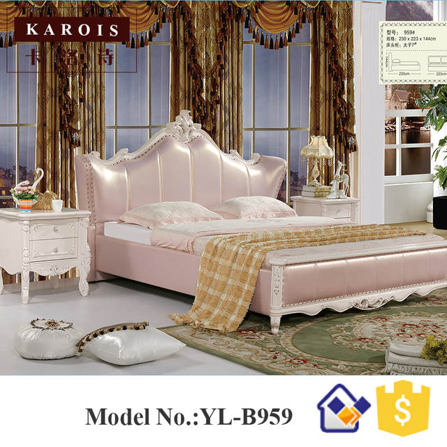Online Shop Maharaja bedroom set furniture white luxury faux leather ...