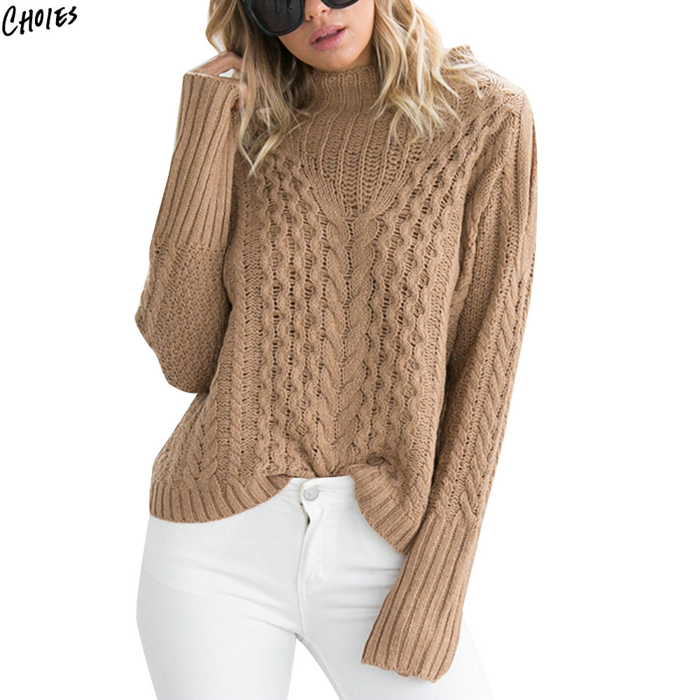 c88dad856d40 Camel Cold Shoulder Jumper Cable Chunky Knitted Sweater Women Drop ...