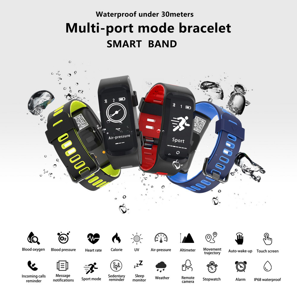 Aihontai F4 Color Screen Smart Bracelet Blood Pressure Blood Oxygen Heart Rate Monitor Smart band For IOS/Android