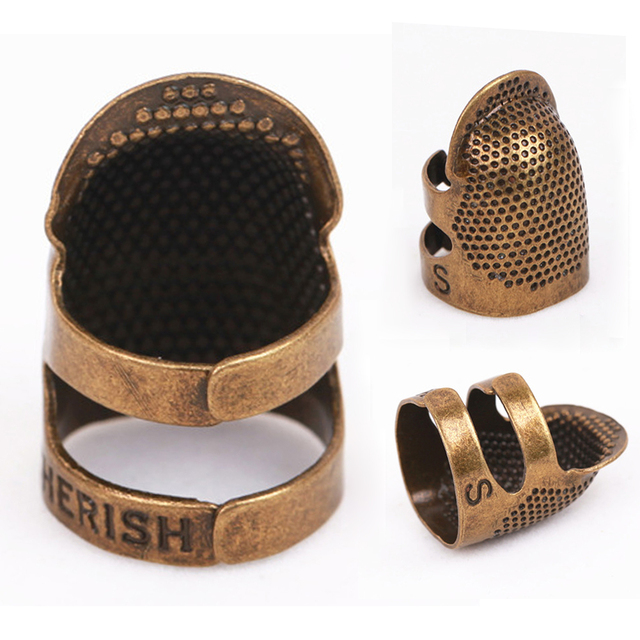 S/M Retro Anti-slip Tool Finger Protector Quilting Crafts Needle Hoop Metal Ring Sewing Household Thimble Adjustable