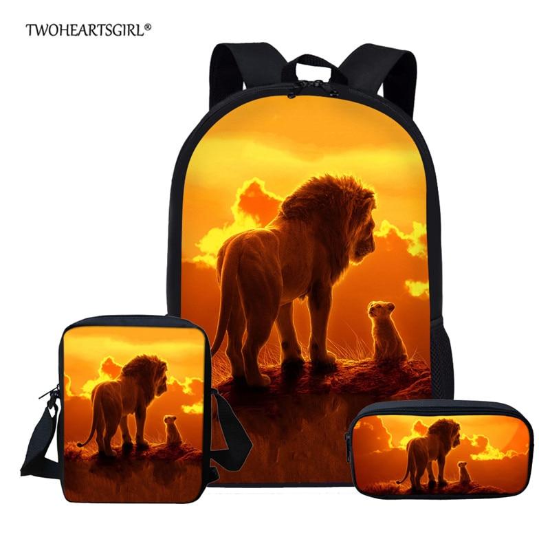 Twoheartsgirl Lion King Backpack For Girl Boys Children School Bags Set Custom Kid School Backpack Student Kindergarten Bag