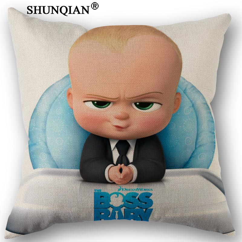 Custom Boss Baby Printed Canvas Pillowcase 45x45cm One Sides Wedding Decorative PillowCase Cotton Linen Pillow Cover