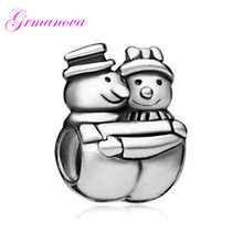 Christmas Snowman Brothers Embrace Charm Beads DIY Jewelry Classic Pop Amulet Fit Pandora Bracelet Women's DIY Jewelry(China)
