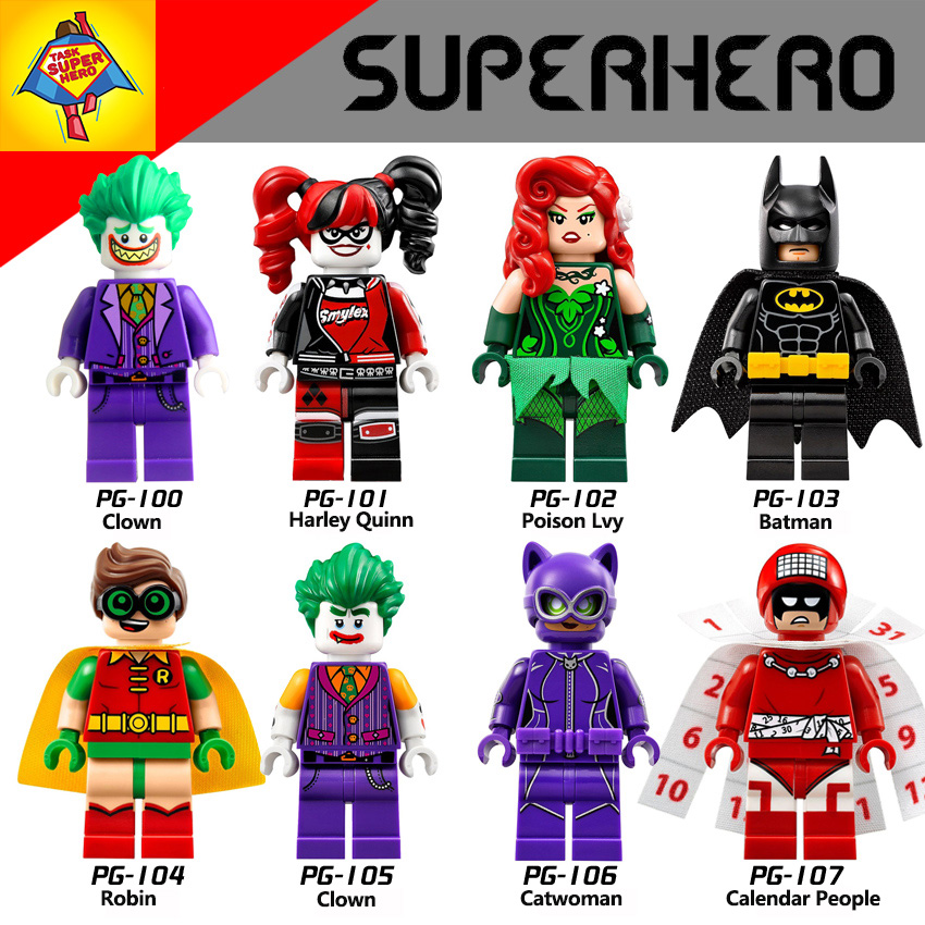lepin Building Blocks Joker Poison Ivy Batman Robin Calendar of people Harley Quinn Catwoman diy figures Kids Educational Toys a toy a dream super heroes movie joker poison ivy calendar of people batman robin bricks building blocks toys lele 34012