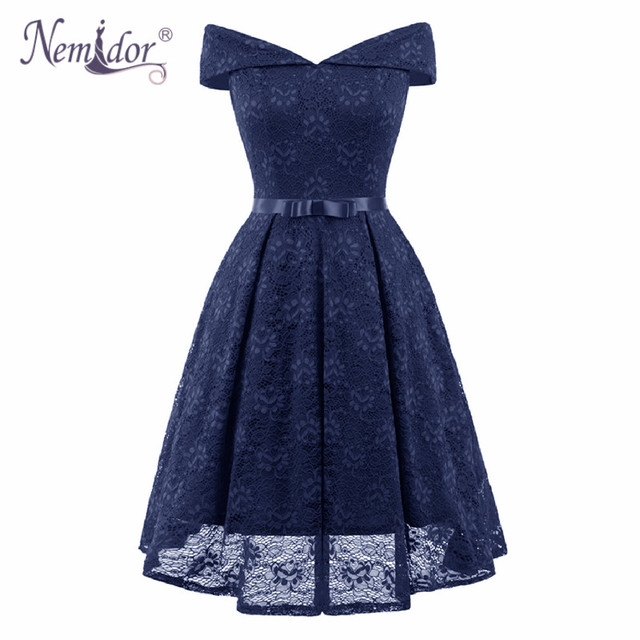 Nemidor 2019 Hot Sales Women Elegant Bridesmaid Swing A-line Dress Vintage Slash Neck Patchwork Midi Party Lace Dress