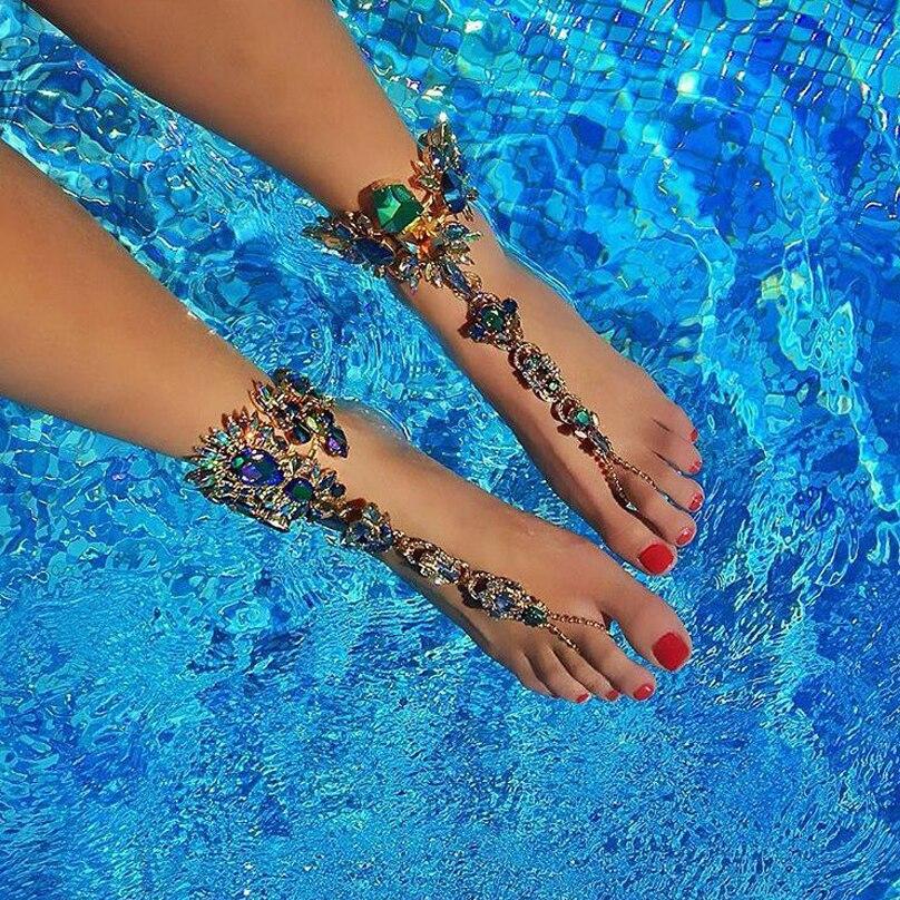 Prix pour Hot Nouvelle Mode 2016 Cheville Bracelet De Mariage Pieds Nus Sandales Bijoux Plage de Pied Sexy Tarte Jambe Chaîne Femme Boho Cristal Cheville