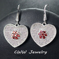 2017 Fashion Design White Gold Plated Heart Shape Red Cubic Zircon Created Diamond Big Drop Micro Pave Earrings For Women CZ273