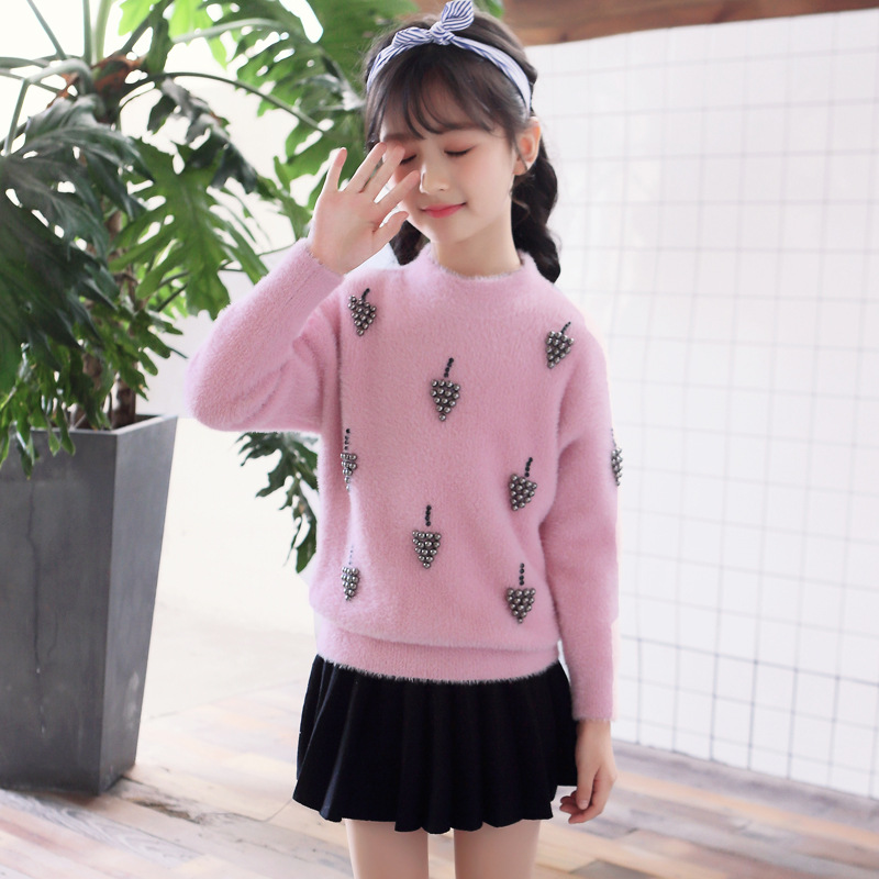 Kids Winter Sweater for Girls 4 6 8 10 12 to 14 Years O-neck New White Knitted Sweater Girls Thickened Tops Kids Clothing 56A3A high neck button embellished knitted sweater