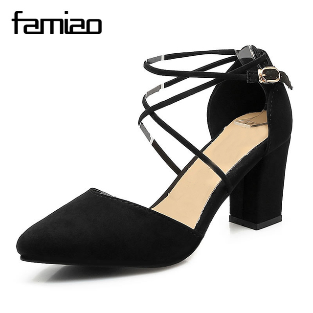 Spring Summer Style Pumps Gladiator Women Sandals Ankle Strap High Heels Shoes Shallow Cross-tied Pointed Toe Lace Up Pump