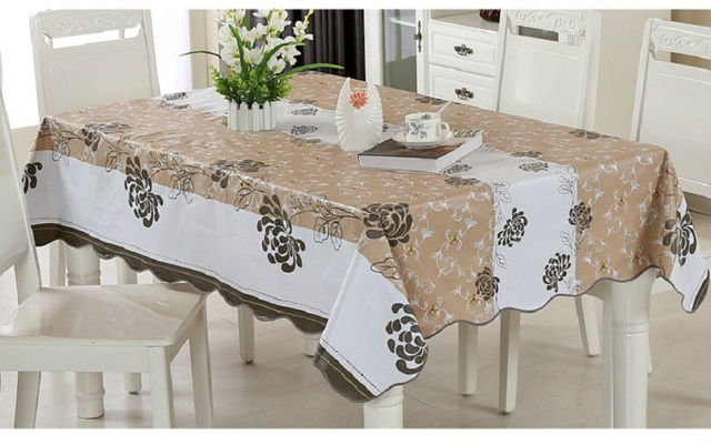On Sale! Table Cloth For Home/modern Stylish Garden Waterproof Oilproof  Printed Blacku0026Brown PVC