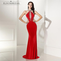 Red Backless Mermaid Evening Dresses 2017 Velvet Robe De Soiree Imported Party Dress Online Shop China