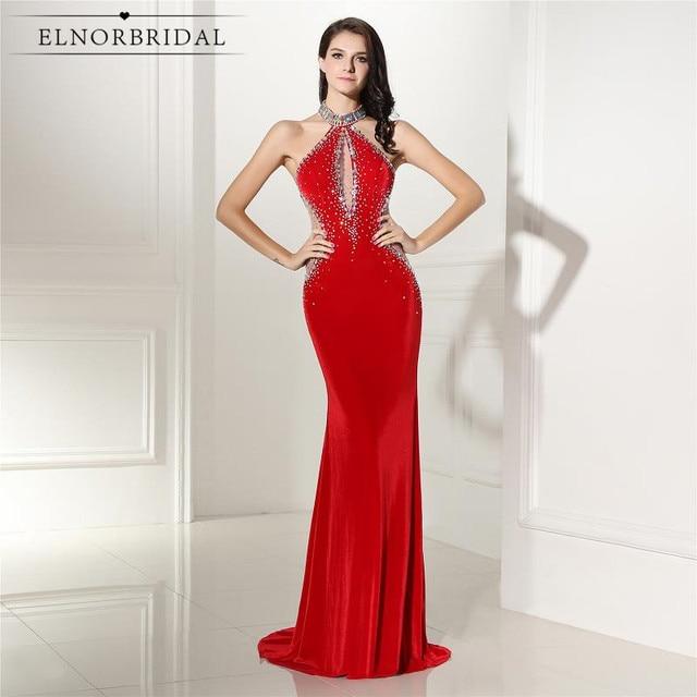 1200e21f5430 Rosso Backless Della Sirena Abiti Da Sera 2019 di Velluto Robe De Soiree  Importato Party Dress