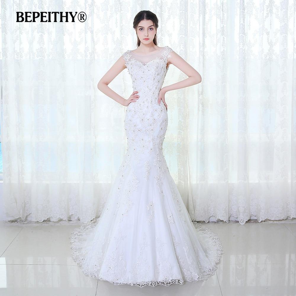 BEPEITHY Cap Sleeves Lace Wedding Dress Vestido De Novia 2020 Vintage Mermaid Bridal Dresses Sexy Sheer Back Casamento