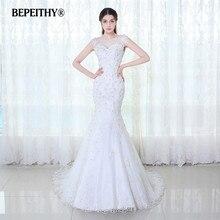 BEPEITHY כובע שרוולי תחרה חתונה שמלת Vestido דה Novia 2020 Vintage בת ים כלה שמלות סקסי Sheer חזור Casamento