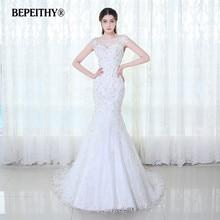 Bepeithy キャップスリーブレースのウェディングドレス vestido デ · ノビア 2020 ヴィンテージマーメイドブライダルドレスセクシーなシアーバック casamento