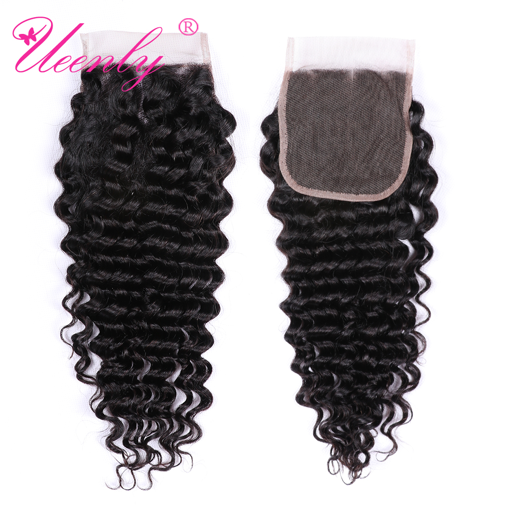 UEENLY Deep-Wave Closure Human-Hair Remy Natural-Color Brazilian 10pcs/Lot Middle/free/Three-part