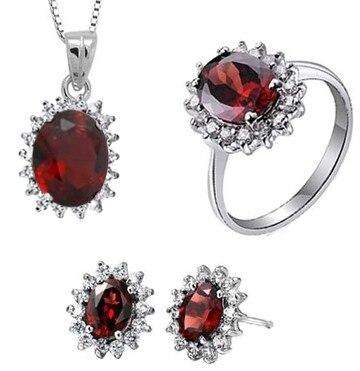 Ensembles de bijoux de mariage en pierre de grenat rouge naturel boucles d'oreilles bague en pierre de grenat naturel pendentif S925 argent de mode ronde femmes de mariage