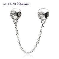 ATHENAIE 925 Sterling Silver Flower Clear CZ Safety Chain Charm Fit All European Bracelets Pendant Authentic