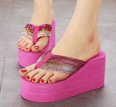 Womens Flip Flop Thong Sandals Wedge Heel Platform Fancy Glitter Sweet New  Shoes-in Women s Flats from Shoes on Aliexpress.com  d30d618e8442