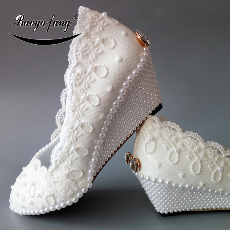 BaoYaFang New Womens wedding shoes Wedges Pearl White Lace wedding shoes for woman 5cm heel Ladies