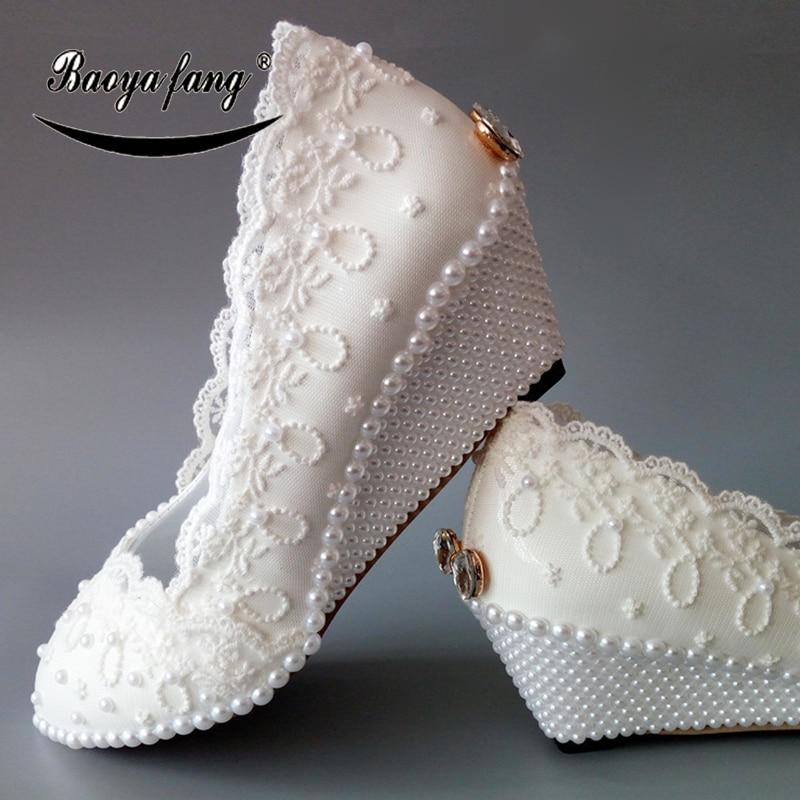 BaoYaFang nuevas mujeres zapatos de boda cuñas perla blanco encaje zapatos de boda para mujer 5cm talón señoras vestido de fiesta zapato-in Zapatos de tacón de mujer from zapatos    1