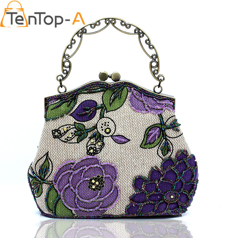 TenTop-A Vintage Embroidery Wrist Bag Women's Beaded Evening Bags Handmade Craft Beaded Embroidery Retro Linen Handbags 6 Colors a three dimensional embroidery of flowers trees and fruits chinese embroidery handmade art design book