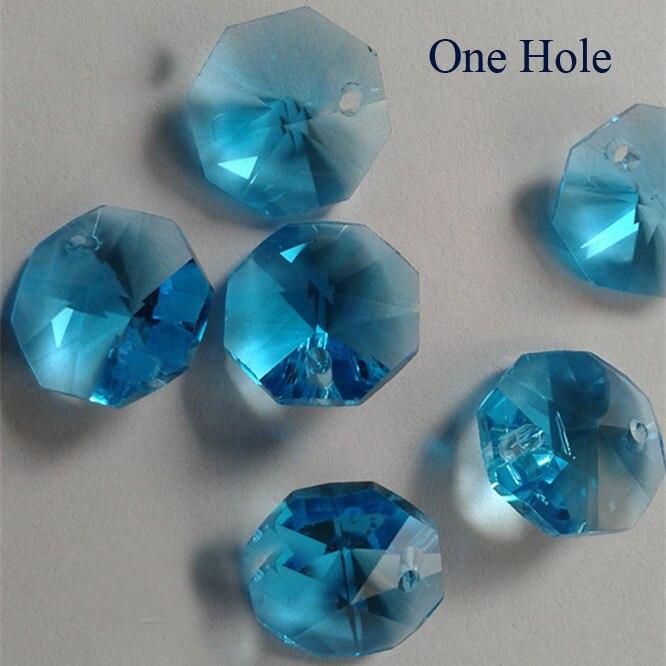 Free Shipping 100pcs/lot 14mm aquamarine crystal octagon beads in one hole ! wedding Garland strand beads