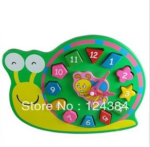 Early childhood clock building digital cognitive shape matching toy