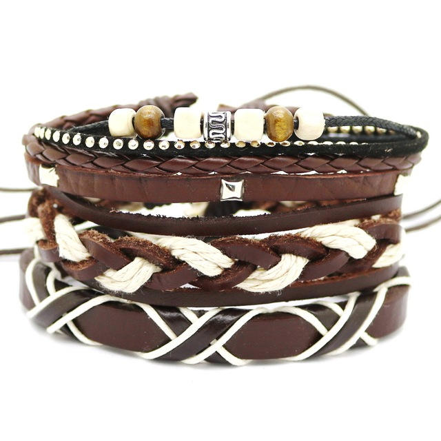 1 Set 4PCS leather bracelet Men's multi-layer bead bracelet women's retro punk casual men's jewelry bracelet jewelry accessories 3