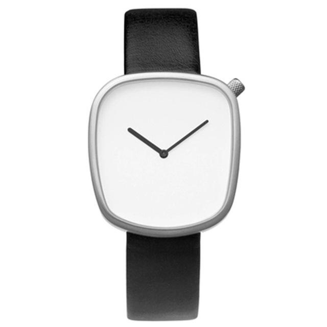 Top Brand Unisex Hombres Mujeres Mínimo Saat Reloj de Acero Inoxidable de Japón Del Cuarzo Del Estilo Simple Relojes Elegante Correa de Cuero Reloj de Pulsera