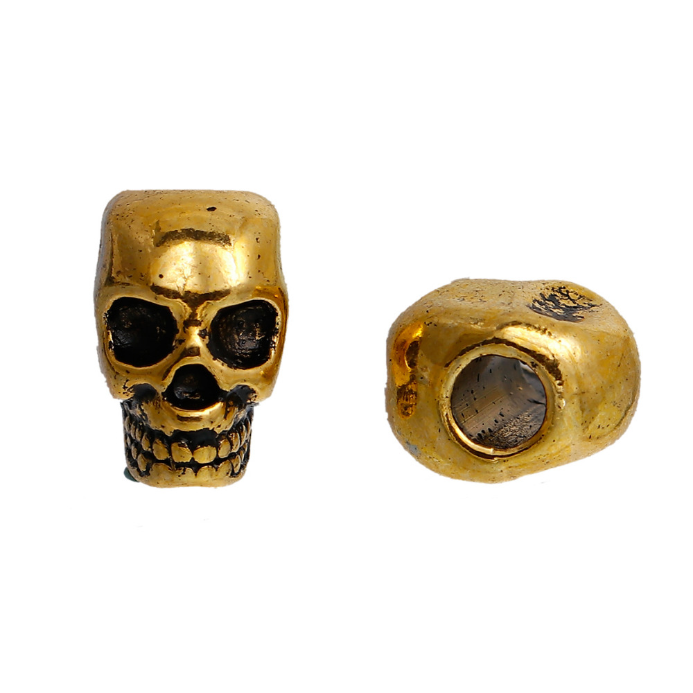 wholesale Gold Alloy skull  Charm Beads For Bracelets /& Necklace 12mm
