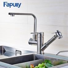 Fapully Spüle Wasserhahn Gebürstetem Nickel herausziehen Wasserhahn All Around Drehen Swivel multidirektionale Küchenarmatur