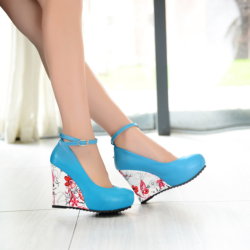 3c9fec3355 Plus Size 33 43 Sexy High Heels Shoes Women Wedge Platform Ankle Straps  Wedges Pumps Party Shoes US Size 3 10.5 D359-in Women's Pumps from Shoes on  ...