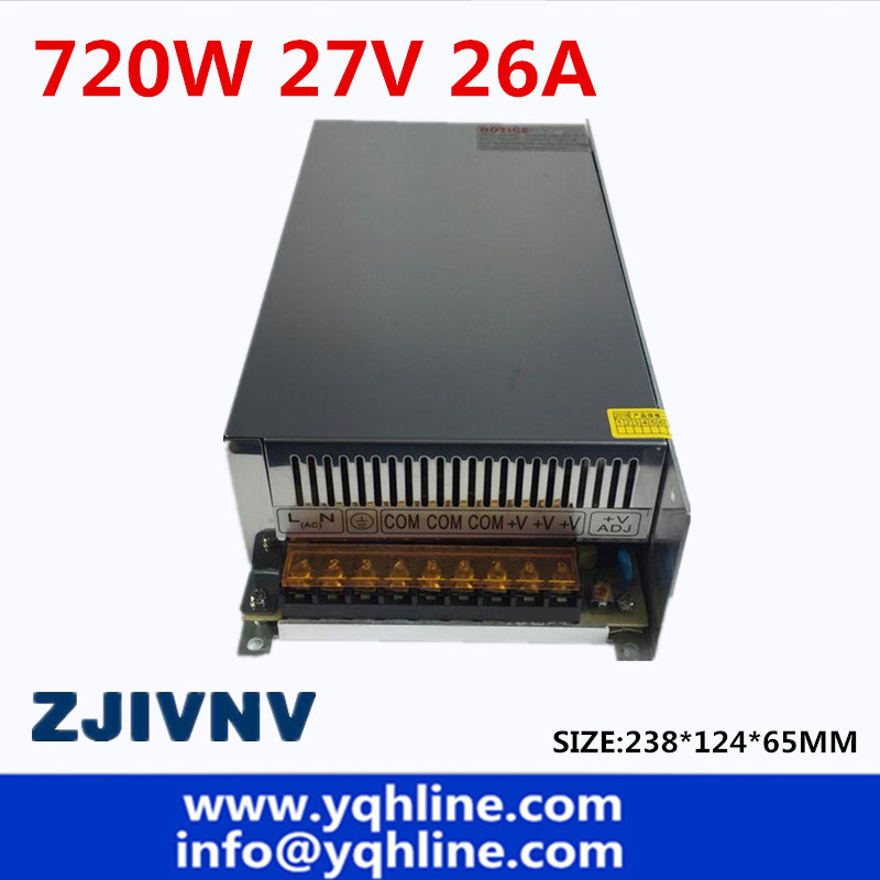 цена на Switching Switch Power Supply DC 27V 26A 720W Voltage Transformer 220V AC DC27V SMPS For LED Strip Display Light CNC CCTV