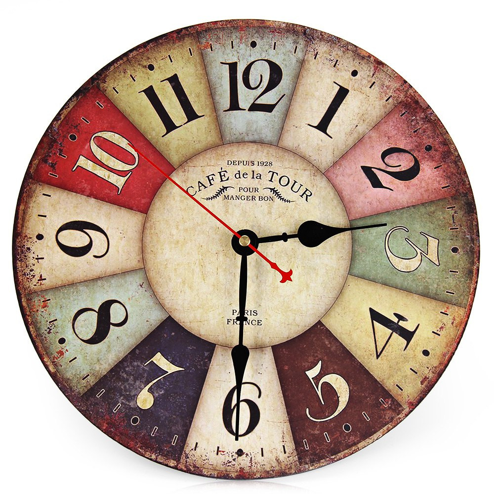 2016 artistic antique vintage round wood wall clock watch for Antique wall clock wood