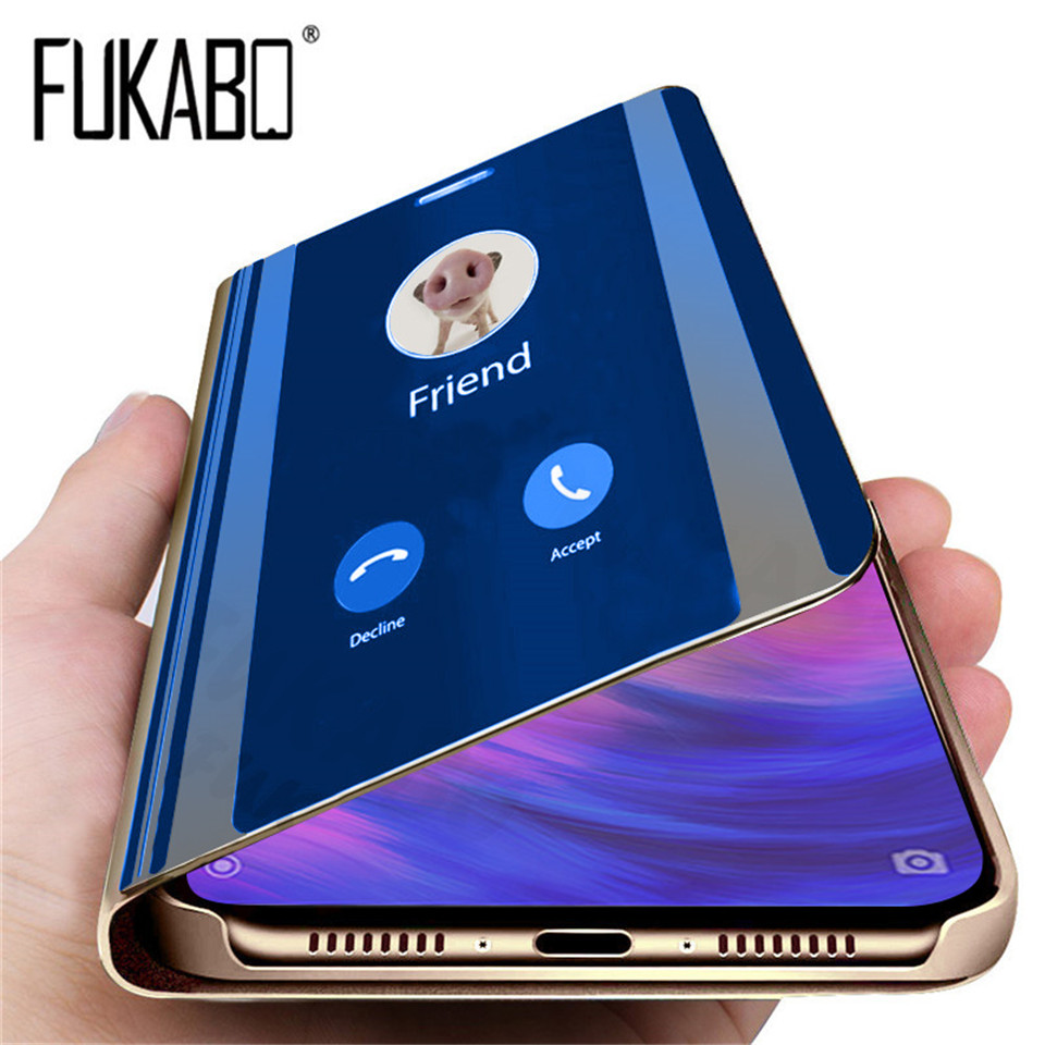 Luxury Flip Standing Case For Xiaomi mi 9 A2 8 Lite A1 6X 5X Mirror Leather Case For Redmi 7 Note 7 6 Pro 5 Plus 6A 4 4X Cover(China)