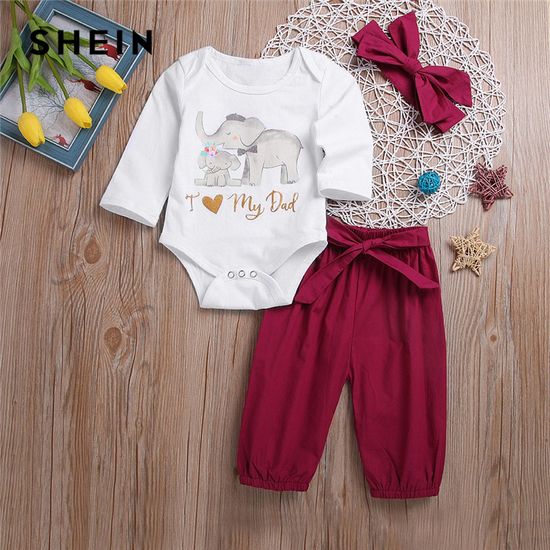 SHEIN Kiddie Cartoon Print Top And Knot Pants With Headband Suit For Toddler Girls Clothes 2019 Cute Long Sleeve Kids Clothes