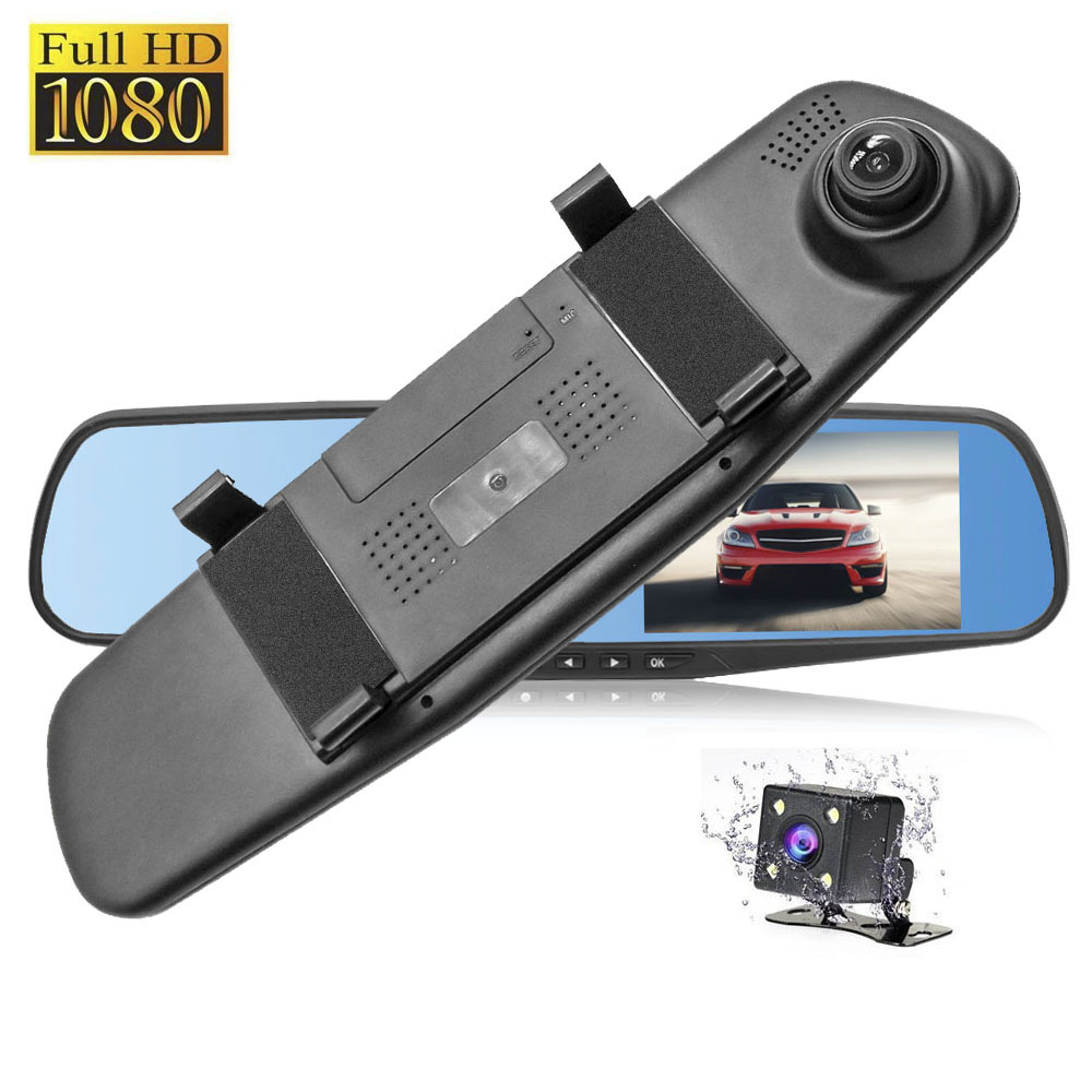 HGDO Car Dvr 4.3 Inch Full HD 1080P Rearview Mirror Video Recorder Dual Lens Registratory Camcorder Dash cam rear view camera