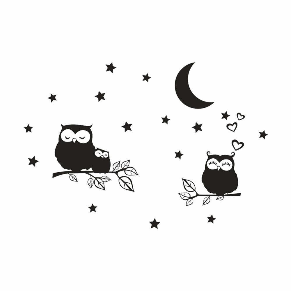 Новейшая популярная милая сова Звезда Луна Съемная художественная виниловая Фреска украшение дома комнаты наклейки на стену